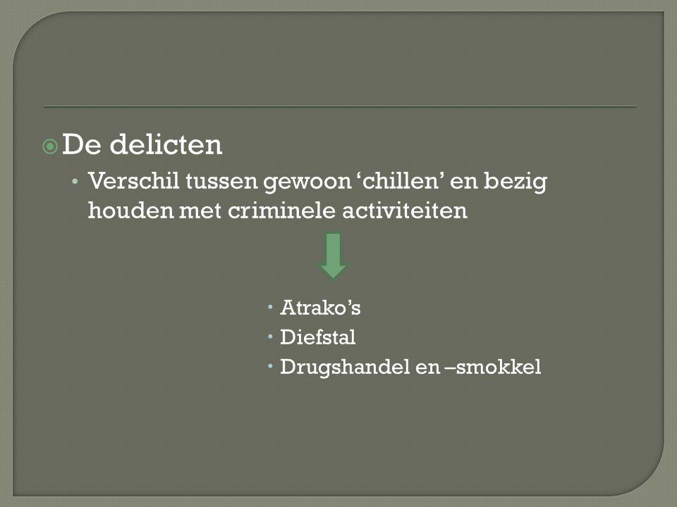  De delicten Verschil tussen gewoon 'chillen' en bezig houden met criminele activiteiten  Atrako's  Diefstal  Drugshandel en –smokkel