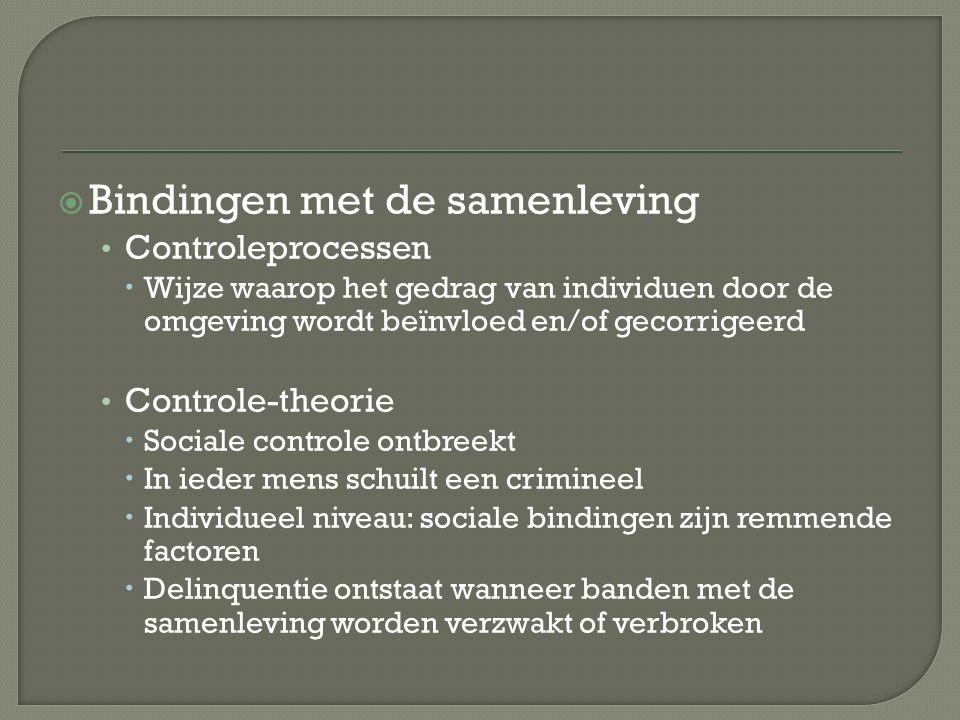  Bindingen met de samenleving Controleprocessen  Wijze waarop het gedrag van individuen door de omgeving wordt beïnvloed en/of gecorrigeerd Controle