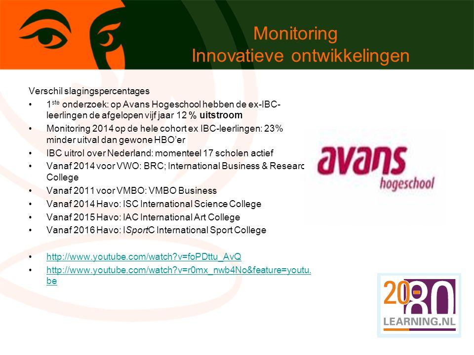 Monitoring Innovatieve ontwikkelingen Verschil slagingspercentages 1 ste onderzoek: op Avans Hogeschool hebben de ex-IBC- leerlingen de afgelopen vijf