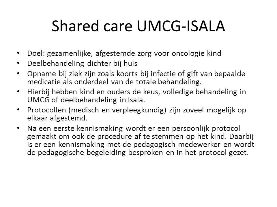 Shared care UMCG-ISALA Doel: gezamenlijke, afgestemde zorg voor oncologie kind Deelbehandeling dichter bij huis Opname bij ziek zijn zoals koorts bij infectie of gift van bepaalde medicatie als onderdeel van de totale behandeling.