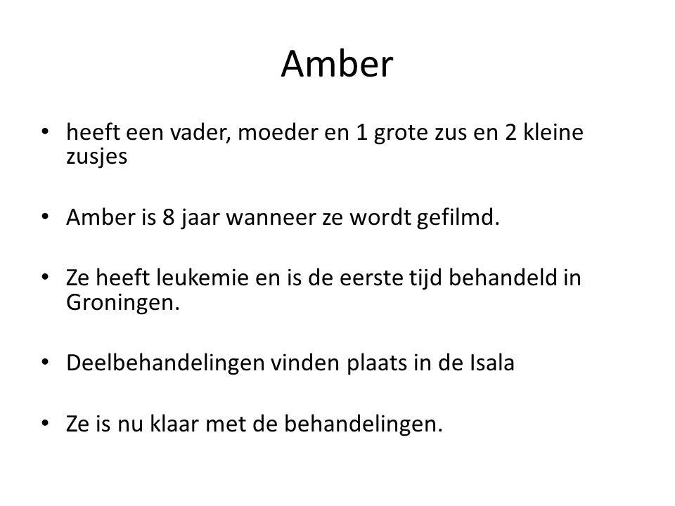 Amber heeft een vader, moeder en 1 grote zus en 2 kleine zusjes Amber is 8 jaar wanneer ze wordt gefilmd.