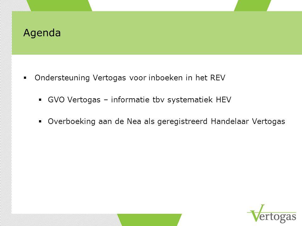 Agenda  Ondersteuning Vertogas voor inboeken in het REV  GVO Vertogas – informatie tbv systematiek HEV  Overboeking aan de Nea als geregistreerd Handelaar Vertogas