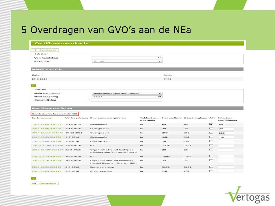 5 Overdragen van GVO's aan de NEa
