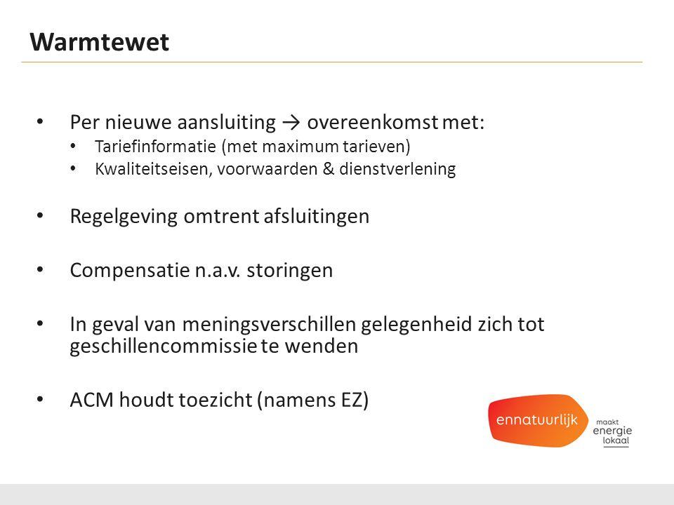 Warmtewet Per nieuwe aansluiting → overeenkomst met: Tariefinformatie (met maximum tarieven) Kwaliteitseisen, voorwaarden & dienstverlening Regelgeving omtrent afsluitingen Compensatie n.a.v.