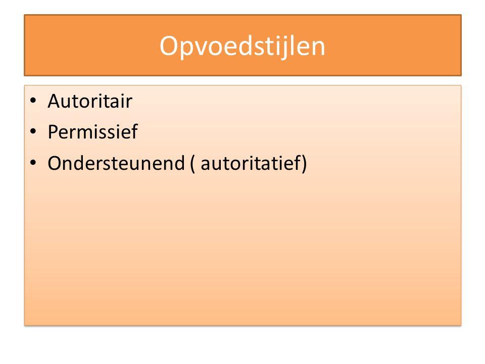 Opvoedstijlen Autoritair Permissief Ondersteunend ( autoritatief) Autoritair Permissief Ondersteunend ( autoritatief)