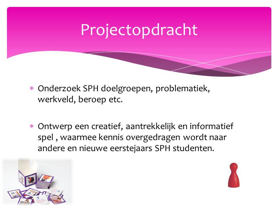  Onderzoek SPH doelgroepen, problematiek, werkveld, beroep etc.