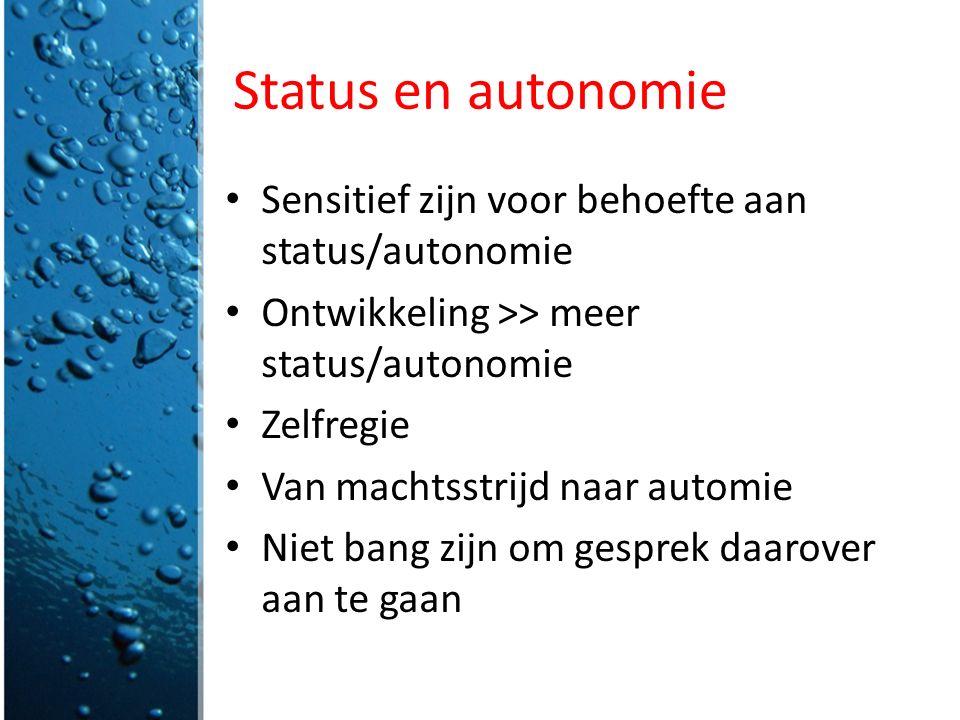 Status en autonomie Sensitief zijn voor behoefte aan status/autonomie Ontwikkeling >> meer status/autonomie Zelfregie Van machtsstrijd naar automie Ni