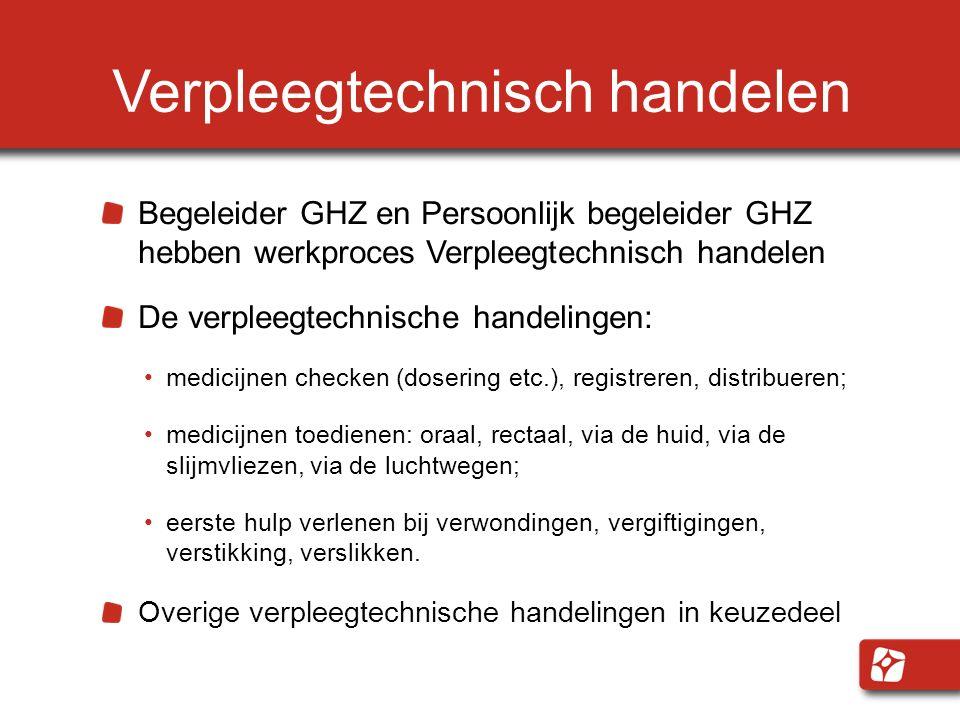 Verpleegtechnisch handelen Begeleider GHZ en Persoonlijk begeleider GHZ hebben werkproces Verpleegtechnisch handelen De verpleegtechnische handelingen