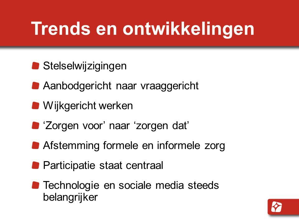 Trends en ontwikkelingen Stelselwijzigingen Aanbodgericht naar vraaggericht Wijkgericht werken 'Zorgen voor' naar 'zorgen dat' Afstemming formele en i