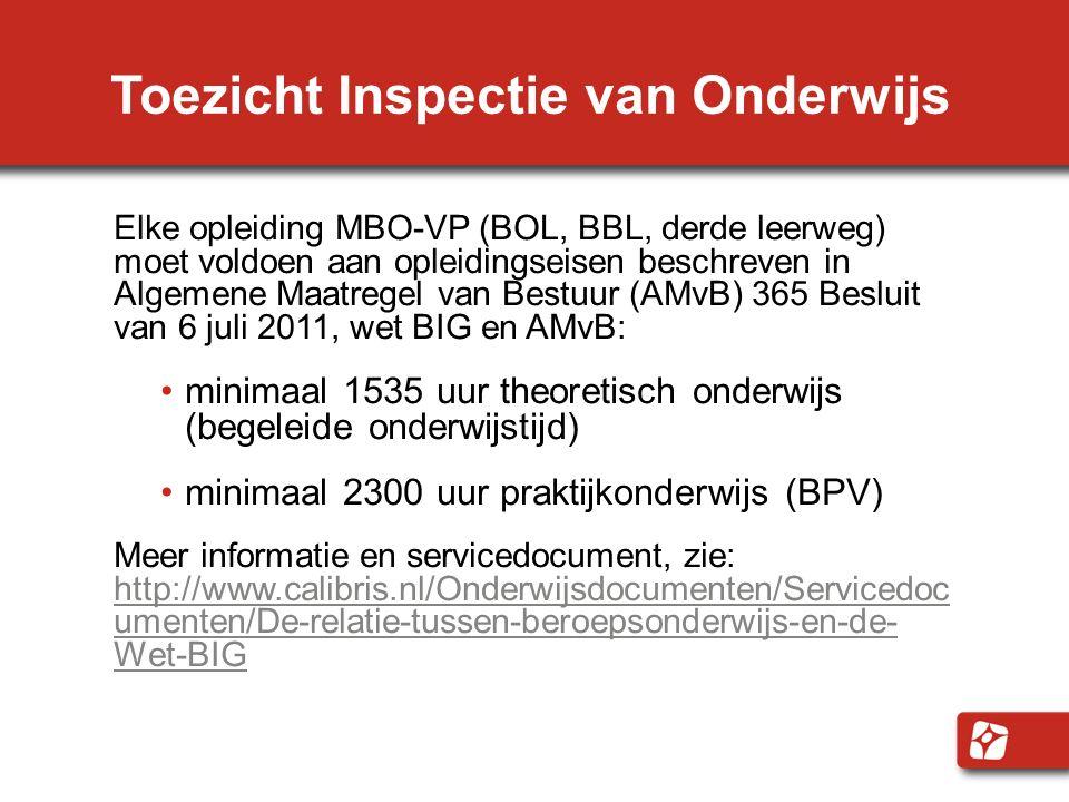 Toezicht Inspectie van Onderwijs Elke opleiding MBO-VP (BOL, BBL, derde leerweg) moet voldoen aan opleidingseisen beschreven in Algemene Maatregel van