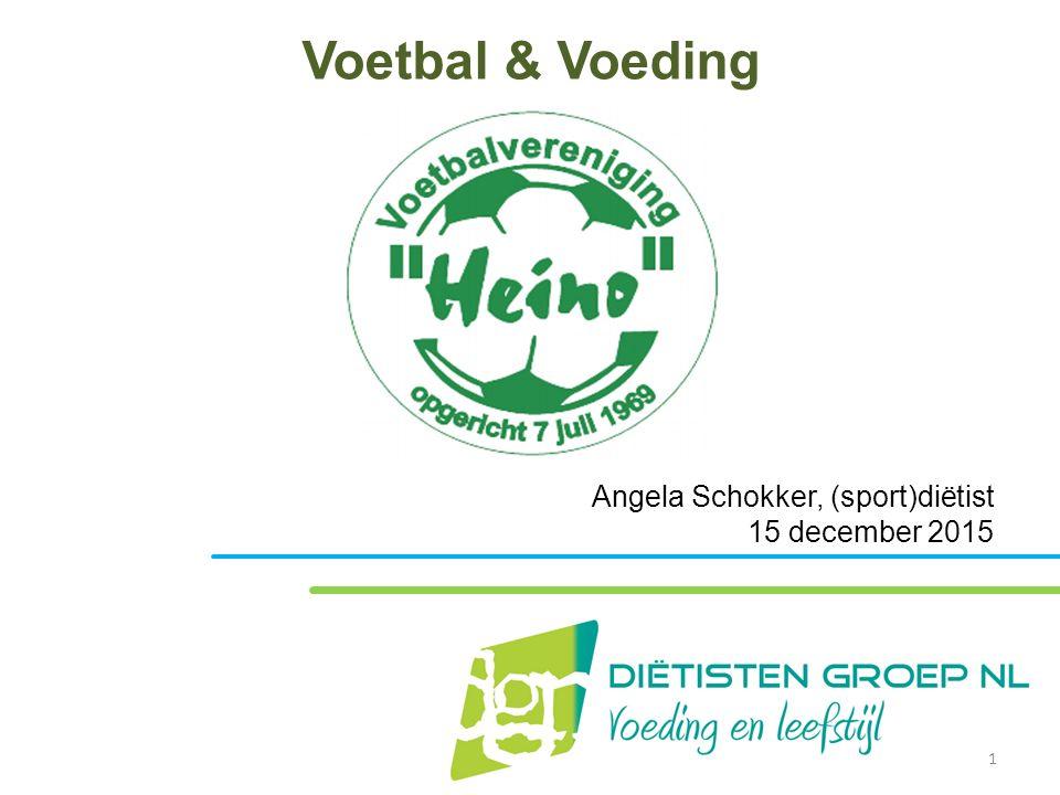 Voetbal & Voeding Angela Schokker, (sport)diëtist 15 december 2015 1