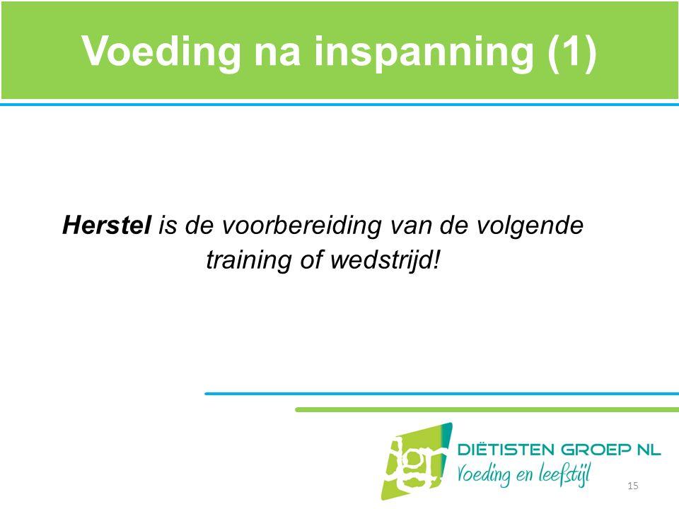 Voeding na inspanning (1) Herstel is de voorbereiding van de volgende training of wedstrijd! 15