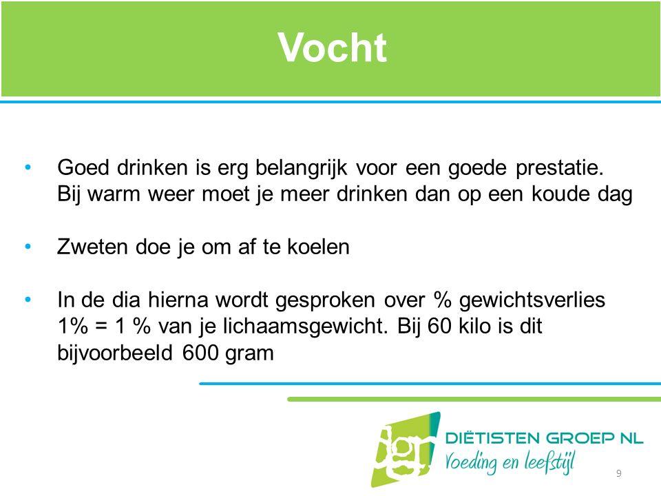 Vocht Goed drinken is erg belangrijk voor een goede prestatie. Bij warm weer moet je meer drinken dan op een koude dag Zweten doe je om af te koelen I