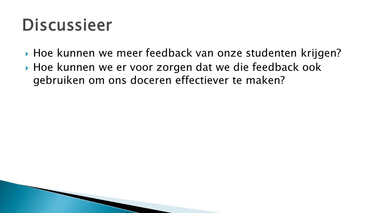  Hoe kunnen we meer feedback van onze studenten krijgen?  Hoe kunnen we er voor zorgen dat we die feedback ook gebruiken om ons doceren effectiever