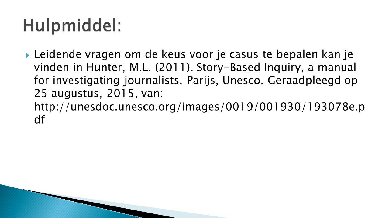  Leidende vragen om de keus voor je casus te bepalen kan je vinden in Hunter, M.L. (2011). Story-Based Inquiry, a manual for investigating journalist