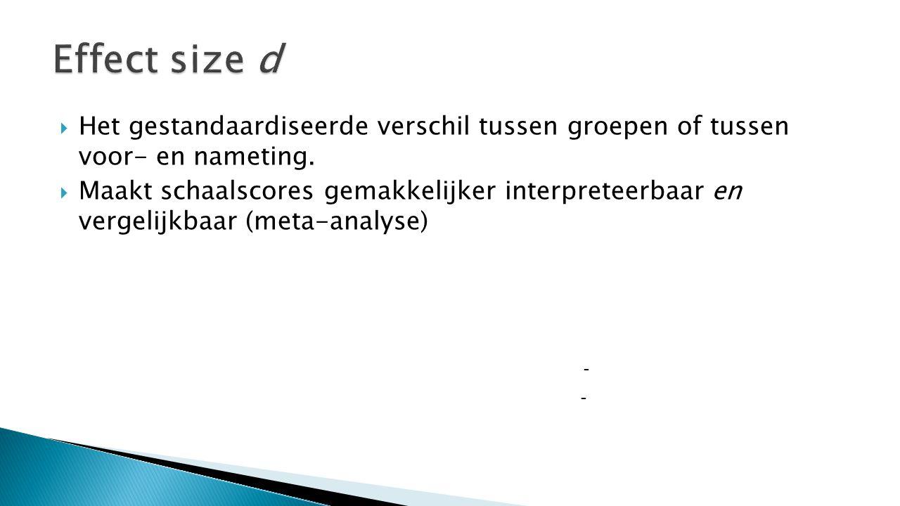  Het gestandaardiseerde verschil tussen groepen of tussen voor- en nameting.