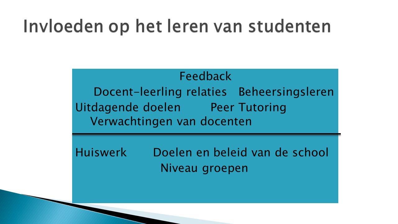 Feedback Docent-leerling relaties Beheersingsleren Uitdagende doelen Peer Tutoring Verwachtingen van docenten Huiswerk Doelen en beleid van de school Niveau groepen Invloeden op het leren van studenten
