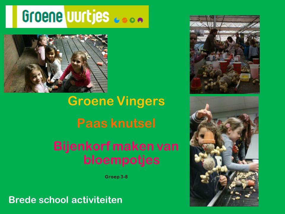 Groene Vingers Paas knutsel Bijenkorf maken van bloempotjes Groep 3-8 Brede school activiteiten