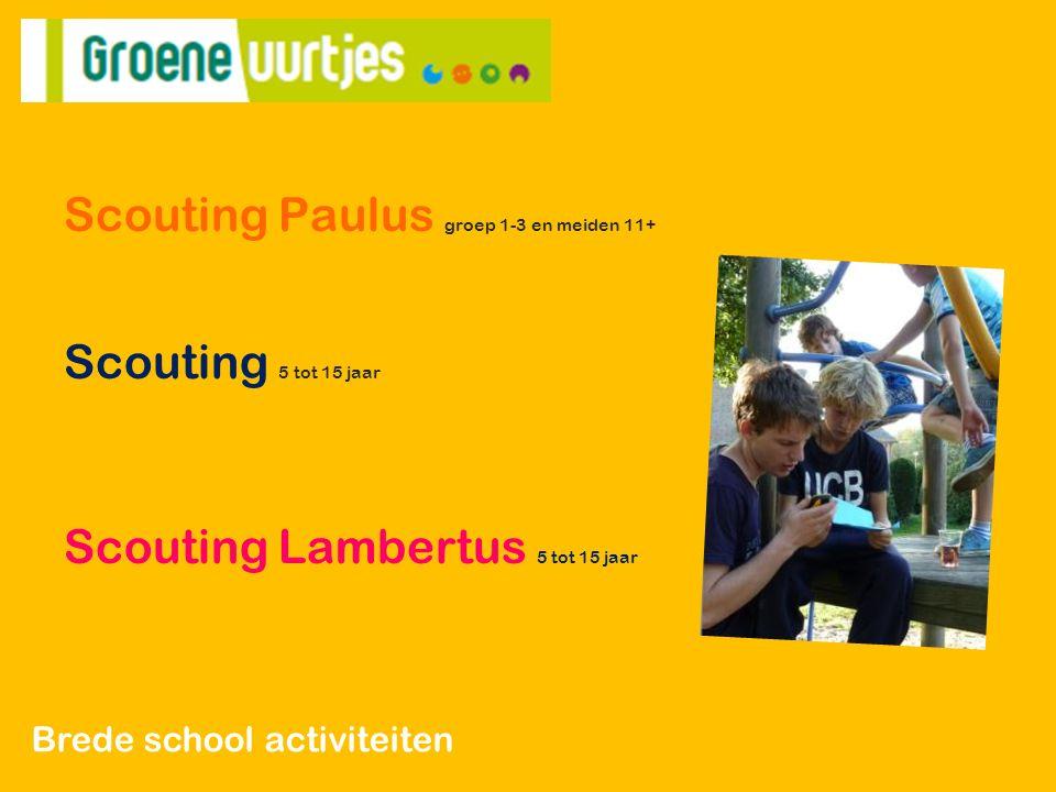 Scouting Paulus groep 1-3 en meiden 11+ Scouting 5 tot 15 jaar Scouting Lambertus 5 tot 15 jaar Brede school activiteiten