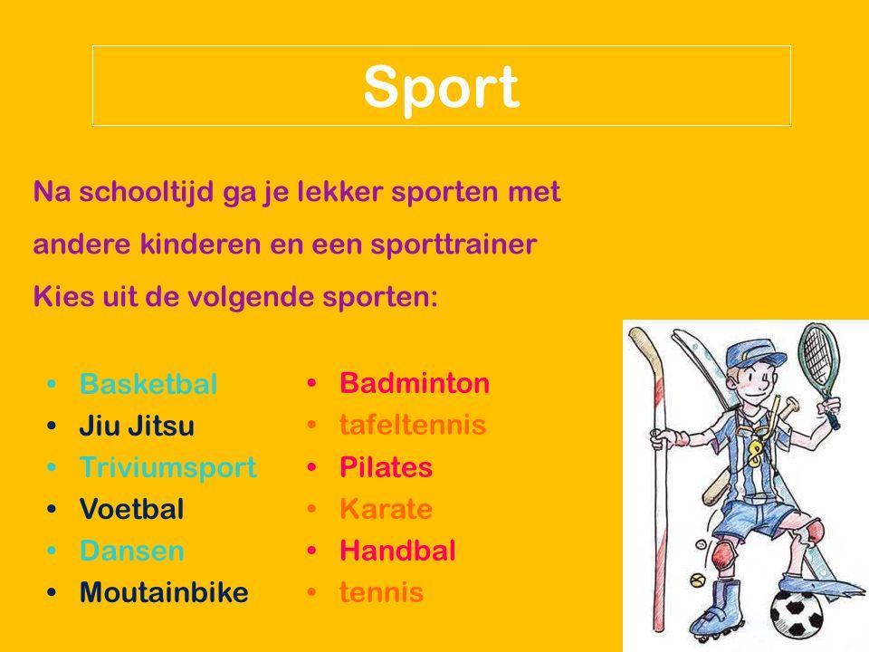 Sport Na schooltijd ga je lekker sporten met andere kinderen en een sporttrainer Kies uit de volgende sporten: Basketbal Jiu Jitsu Triviumsport Voetba