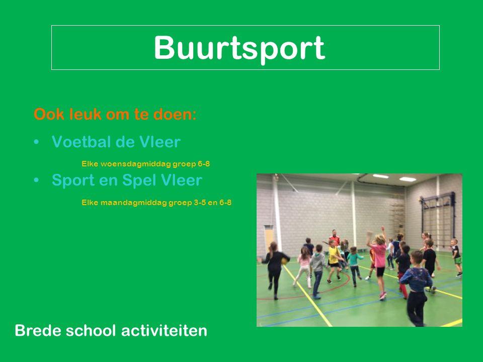 Brede school activiteiten Buurtsport Ook leuk om te doen: Voetbal de Vleer Elke woensdagmiddag groep 6-8 Sport en Spel Vleer Elke maandagmiddag groep