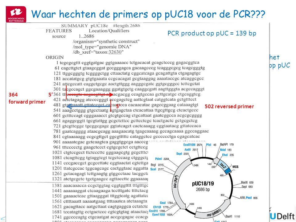 Hoe groot is het PCR product op pUC 18? Waar hechten de primers op pUC18 voor de PCR??? 5' 364 forward primer 502 reversed primer PCR product op pUC =