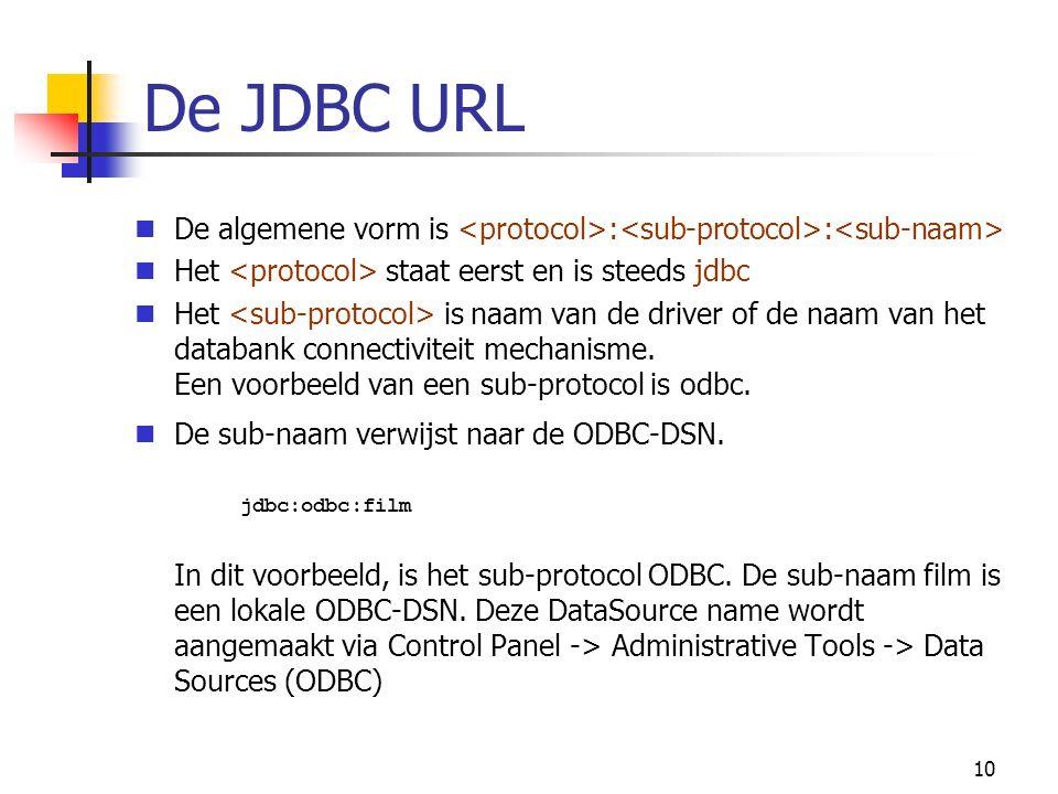 10 De JDBC URL De algemene vorm is : : Het staat eerst en is steeds jdbc Het is naam van de driver of de naam van het databank connectiviteit mechanisme.
