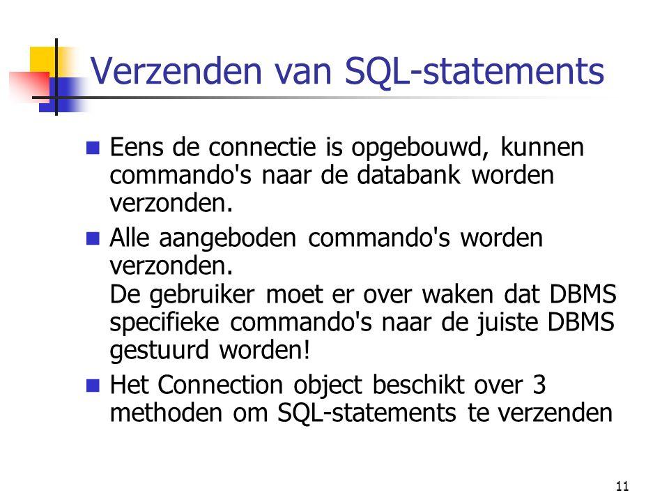 11 Verzenden van SQL-statements Eens de connectie is opgebouwd, kunnen commando s naar de databank worden verzonden.