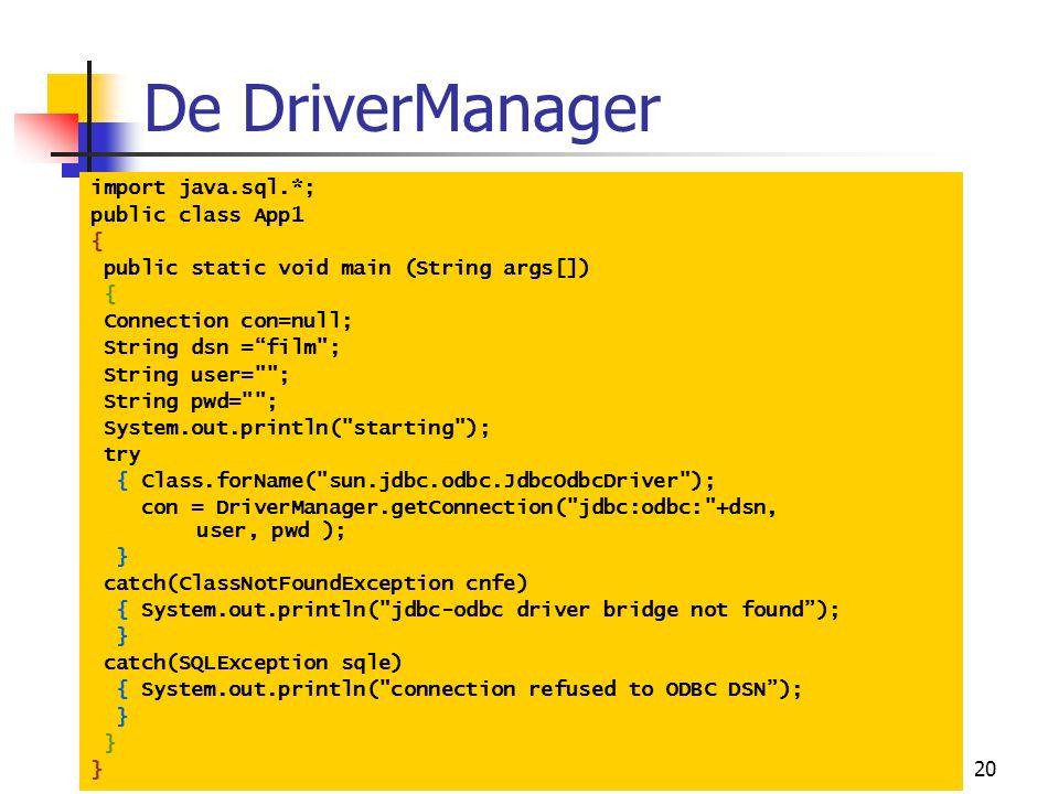"20 De DriverManager import java.sql.*; public class App1 { public static void main (String args[]) { Connection con=null; String dsn =""film"