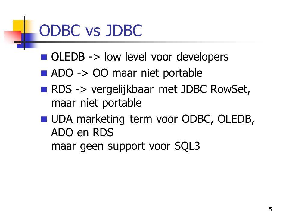 5 ODBC vs JDBC OLEDB -> low level voor developers ADO -> OO maar niet portable RDS -> vergelijkbaar met JDBC RowSet, maar niet portable UDA marketing term voor ODBC, OLEDB, ADO en RDS maar geen support voor SQL3