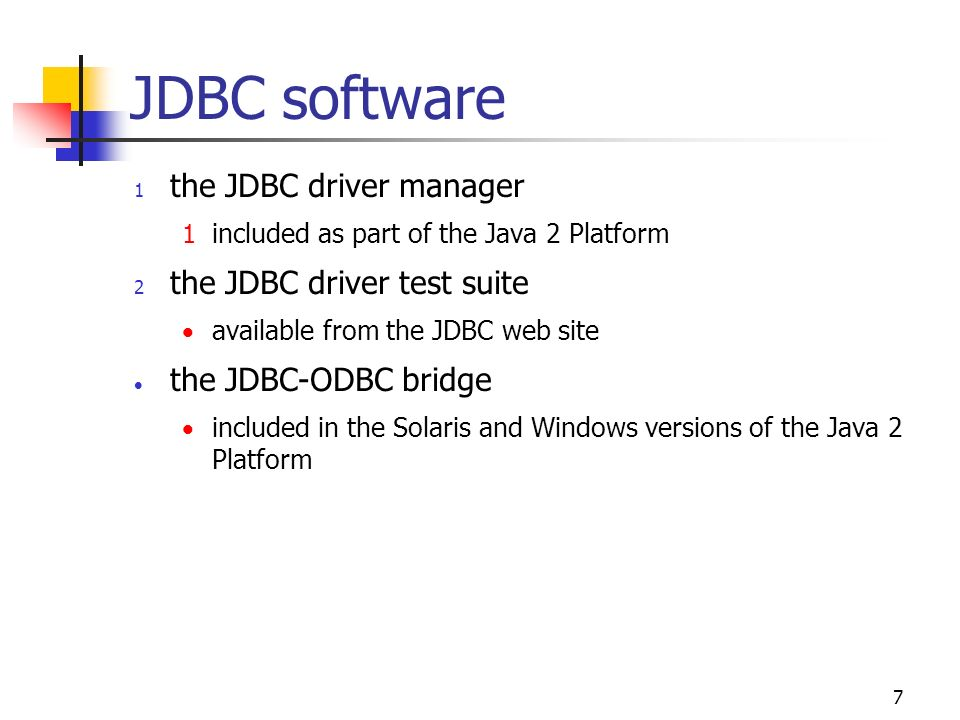 7 JDBC software 1 the JDBC driver manager 1 included as part of the Java 2 Platform 2 the JDBC driver test suite  available from the JDBC web site 