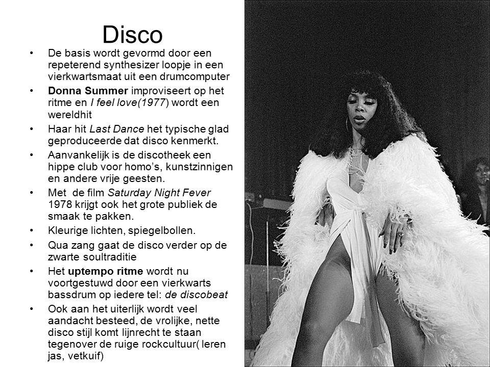 Disco De basis wordt gevormd door een repeterend synthesizer loopje in een vierkwartsmaat uit een drumcomputer Donna Summer improviseert op het ritme