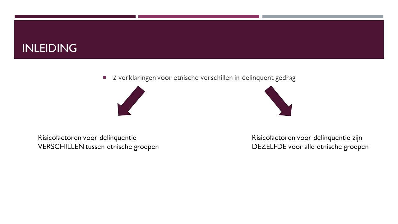INLEIDING  2 verklaringen voor etnische verschillen in delinquent gedrag Risicofactoren voor delinquentie VERSCHILLEN tussen etnische groepen Risicofactoren voor delinquentie zijn DEZELFDE voor alle etnische groepen