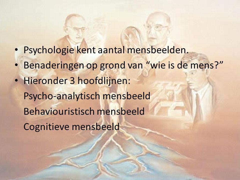 """Psychologie kent aantal mensbeelden. Benaderingen op grond van """"wie is de mens?"""" Hieronder 3 hoofdlijnen: Psycho-analytisch mensbeeld Behaviouristisch"""