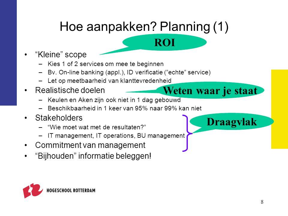 8 Hoe aanpakken. Planning (1) Kleine scope –Kies 1 of 2 services om mee te beginnen –Bv.