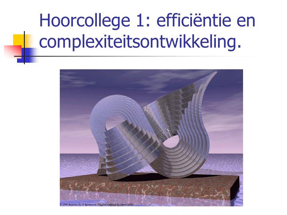 Hoorcollege 1: efficiëntie en complexiteitsontwikkeling.