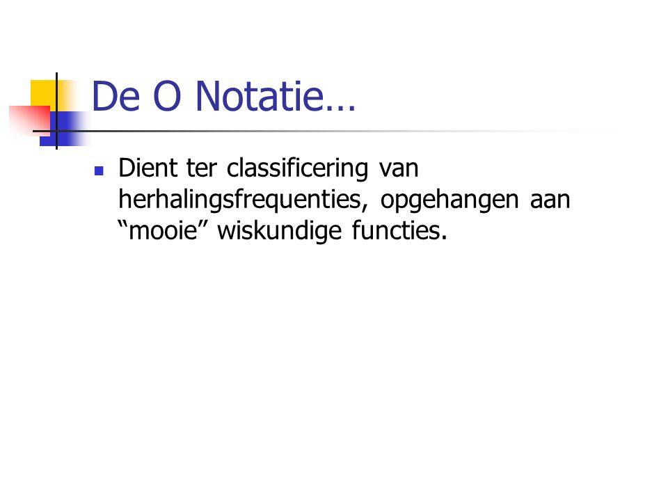 De O Notatie… Dient ter classificering van herhalingsfrequenties, opgehangen aan mooie wiskundige functies.