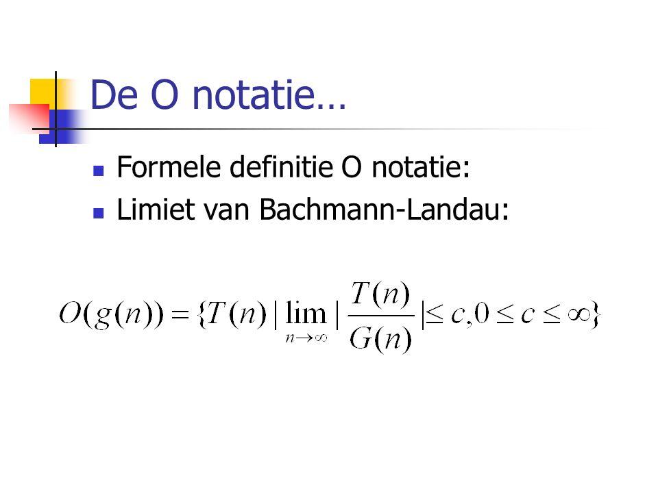 De O notatie… Formele definitie O notatie: Limiet van Bachmann-Landau: