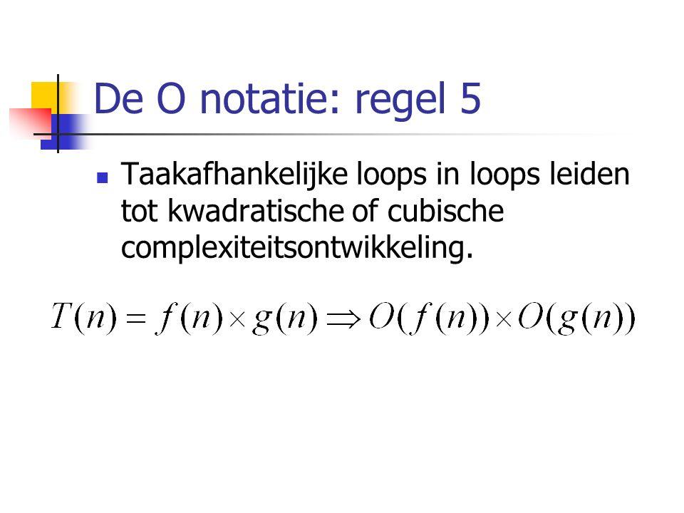 De O notatie: regel 5 Taakafhankelijke loops in loops leiden tot kwadratische of cubische complexiteitsontwikkeling.