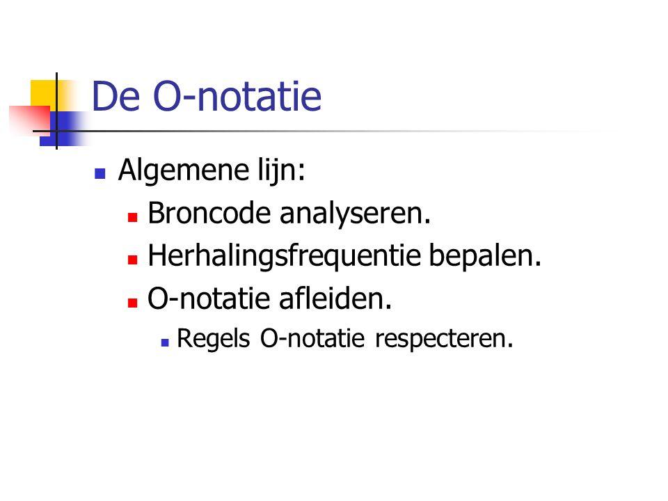De O-notatie Algemene lijn: Broncode analyseren. Herhalingsfrequentie bepalen.