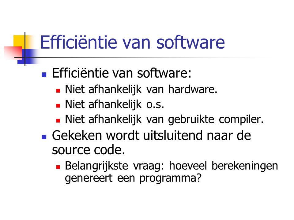 Efficiëntie van software Efficiëntie van software: Niet afhankelijk van hardware.