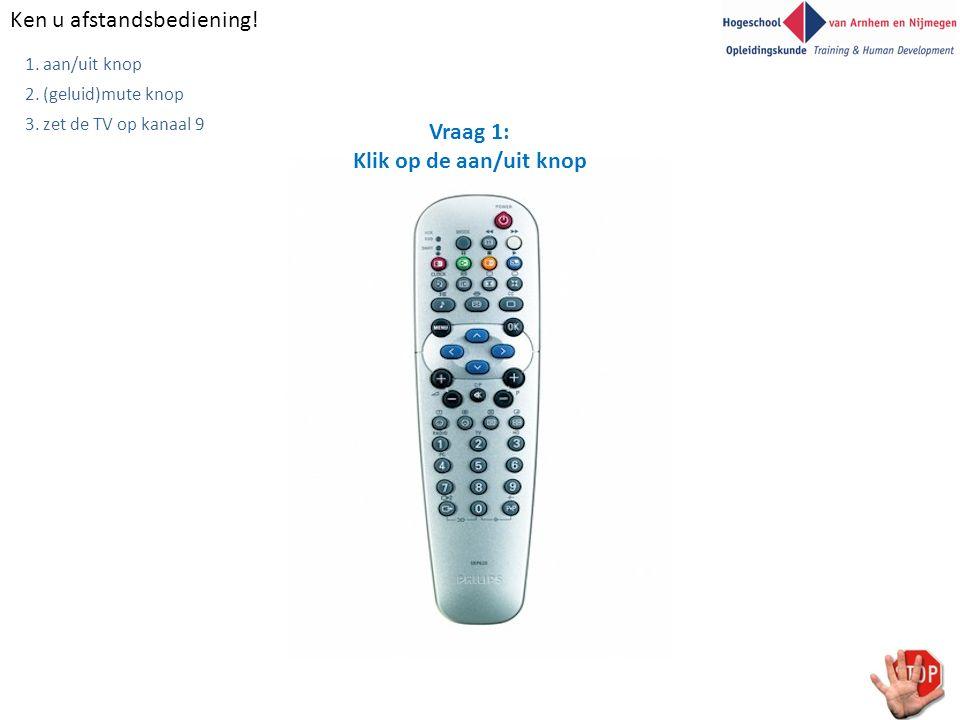 Ken u afstandsbediening! 1. aan/uit knop 2. (geluid)mute knop 3. zet de TV op kanaal 9 Zelf TOETS