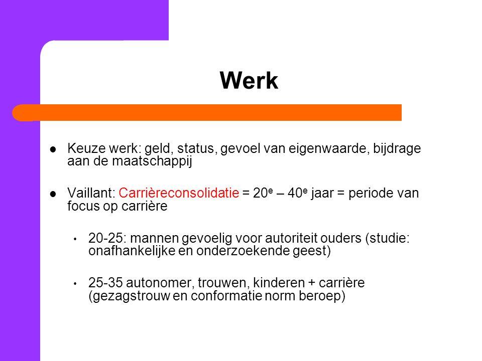 Werk Keuze werk: geld, status, gevoel van eigenwaarde, bijdrage aan de maatschappij Vaillant: Carrièreconsolidatie = 20 e – 40 e jaar = periode van fo