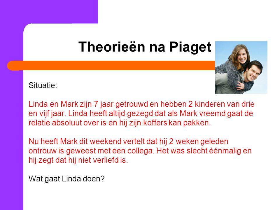 Volgens Piaget: Piagets laatste stadia: Formeel denken = pure logica (Zwart-Wit) De adolescent zegt: Linda heeft altijd gezegd dat ze weg zou gaan, dus dat doet ze ook.