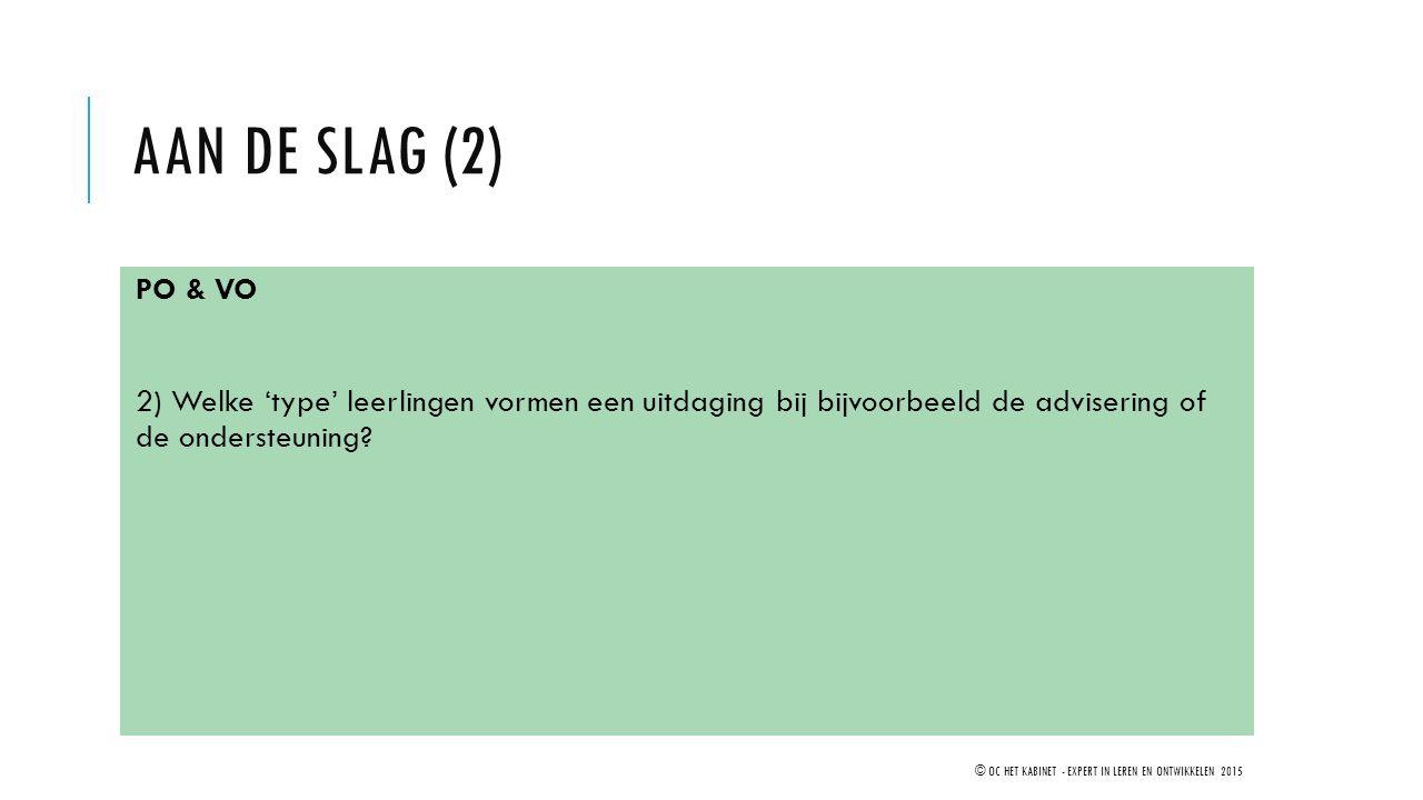 AAN DE SLAG (2) PO & VO 2) Welke 'type' leerlingen vormen een uitdaging bij bijvoorbeeld de advisering of de ondersteuning? © OC HET KABINET - EXPERT