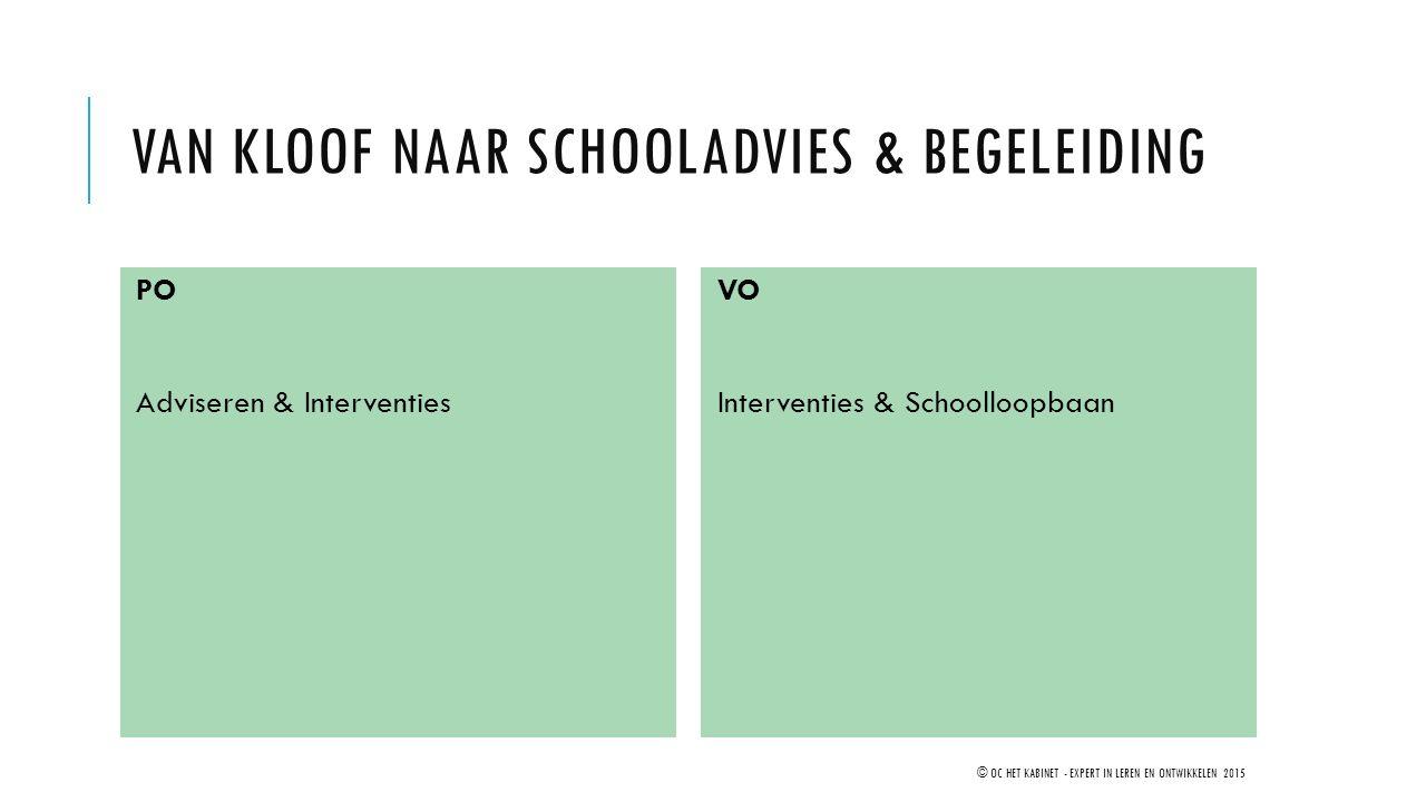 VAN KLOOF NAAR SCHOOLADVIES & BEGELEIDING PO Adviseren & Interventies VO Interventies & Schoolloopbaan © OC HET KABINET - EXPERT IN LEREN EN ONTWIKKEL