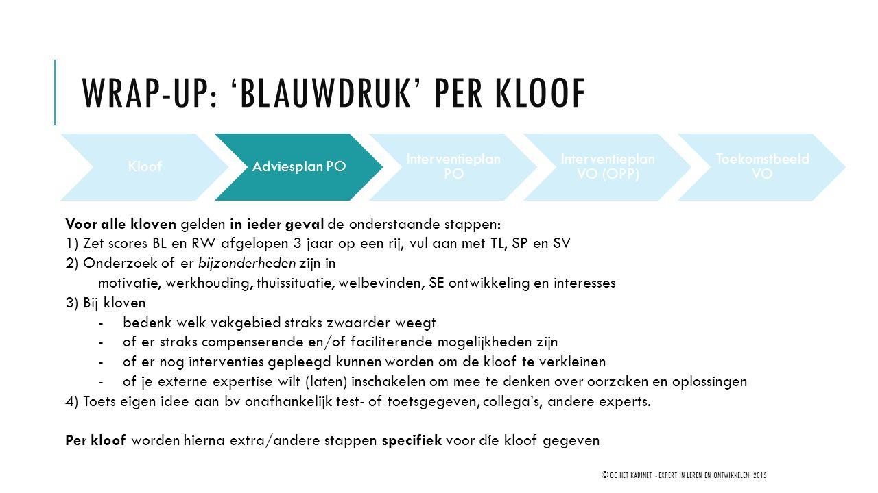 WRAP-UP: 'BLAUWDRUK' PER KLOOF © OC HET KABINET - EXPERT IN LEREN EN ONTWIKKELEN 2015 KloofAdviesplan PO Interventieplan PO Interventieplan VO (OPP) T