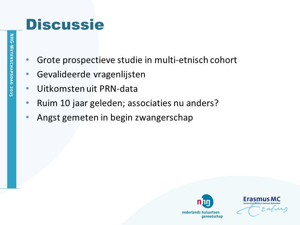 Discussie Grote prospectieve studie in multi-etnisch cohort Gevalideerde vragenlijsten Uitkomsten uit PRN-data Ruim 10 jaar geleden; associaties nu an