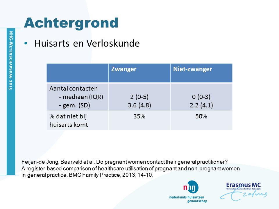Achtergrond Huisarts en Verloskunde ZwangerNiet-zwanger Aantal contacten - mediaan (IQR) - gem. (SD) 2 (0-5) 3.6 (4.8) 0 (0-3) 2.2 (4.1) % dat niet bi