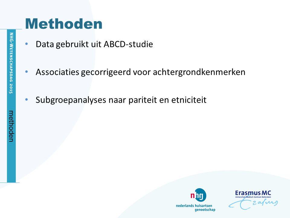 Methoden Data gebruikt uit ABCD-studie Associaties gecorrigeerd voor achtergrondkenmerken Subgroepanalyses naar pariteit en etniciteit methoden